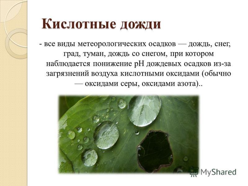 Кислотные дожди - все виды метеорологических осадков дождь, снег, град, туман, дождь со снегом, при котором наблюдается понижение pH дождевых осадков из-за загрязнений воздуха кислотными оксидами (обычно оксидами серы, оксидами азота)..