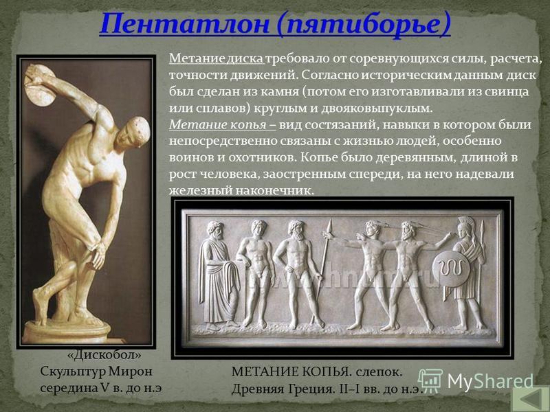 МЕТАНИЕ КОПЬЯ. слепок. Древняя Греция. II–I вв. до н.э. «Дискобол» Скульптур Мирон середина V в. до н.э Метание диска требовало от соревнующихся силы, расчета, точности движений. Согласно историческим данным диск был сделан из камня (потом его изгота