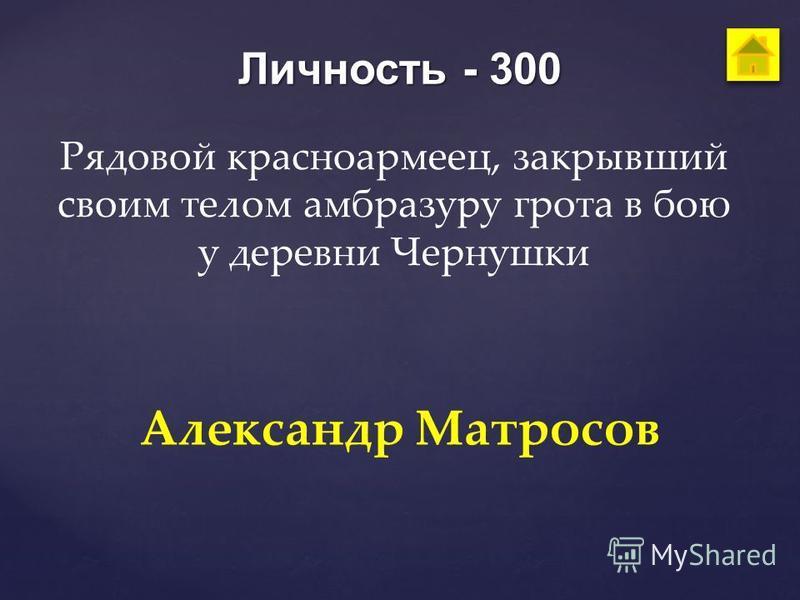 Личность - 300 Рядовой красноармеец, закрывший своим телом амбразуру грота в бою у деревни Чернушки Александр Матросов