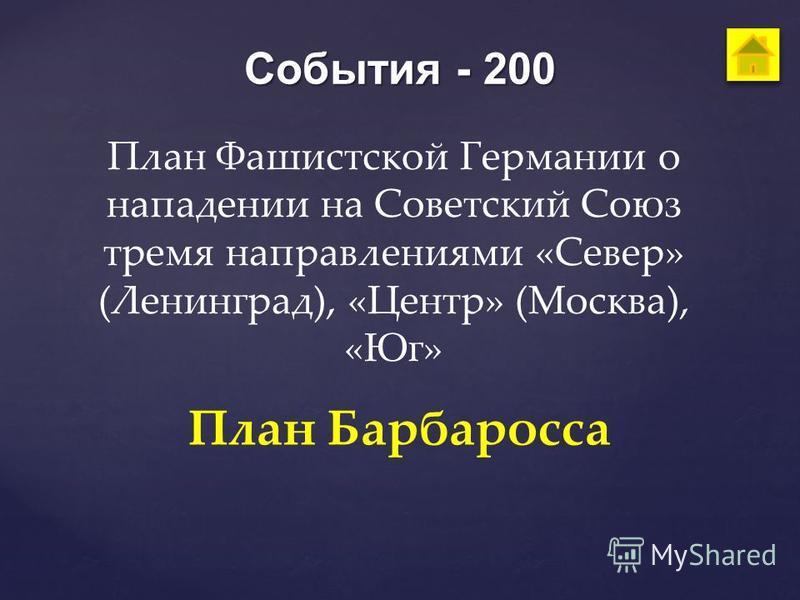 События - 200 План Фашистской Германии о нападении на Советский Союз тремя направлениями «Север» (Ленинград), «Центр» (Москва), «Юг» План Барбаросса