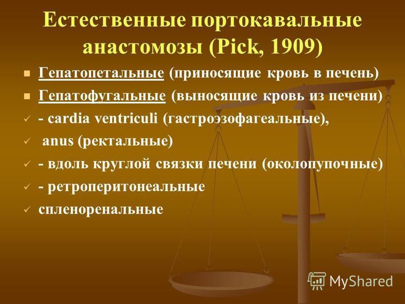 Естественные портокавальные анастомозы (Pick, 1909) Гепатопетальные (приносящие кровь в печень) Гепатофугальные (выносящие кровь из печени) - сardia ventriculi (гастроэзофагеальные), anus (ректальные) - вдоль круглой связки печени (околопупочные) - р