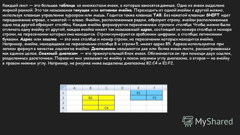 Каждый лист это большая таблица со множеством ячеек, в которые заносятся данные. Одна из ячеек выделена жирной рамкой. Это так называемая текущая или активная ячейка. Переходить от одной ячейки к другой можно, используя клавиши управления курсором ил