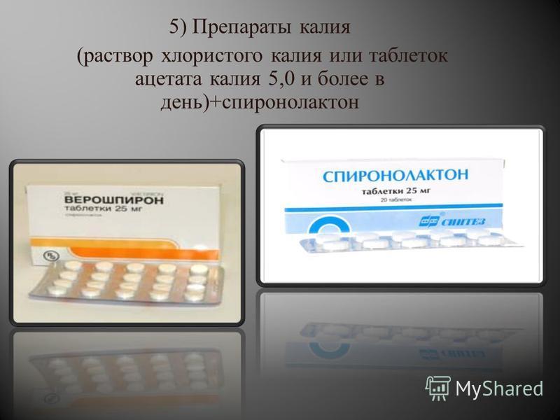 5) Препараты калия ( раствор хлористого калия или таблеток ацетата калия 5,0 и более в день )+ спиронолактон
