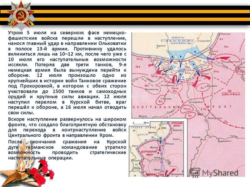 Утром 5 июля на северном фасе немецко- фашистские войска перешли в наступление, нанося главный удар в направлении Ольховатки в полосе 13-й армии. Противнику удалось вклиниться лишь на 10–12 км, после чего уже с 10 июля его наступательные возможности