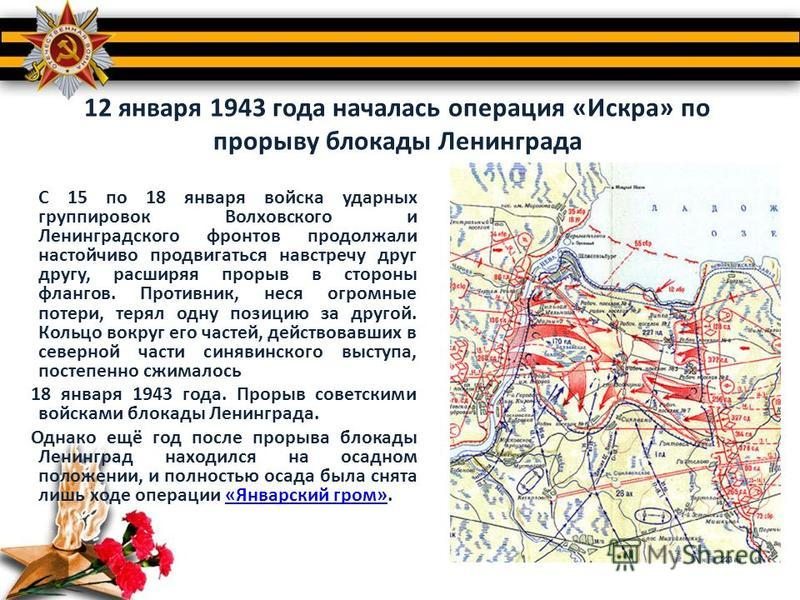 12 января 1943 года началась операция «Искра» по прорыву блокады Ленинграда С 15 по 18 января войска ударных группировок Волховского и Ленинградского фронтов продолжали настойчиво продвигаться навстречу друг другу, расширяя прорыв в стороны флангов.
