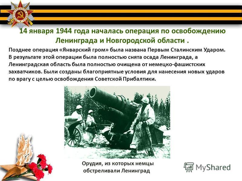 14 января 1944 года началась операция по освобождению Ленинграда и Новгородской области. Позднее операция «Январский гром» была названа Первым Сталинским Ударом. В результате этой операции была полностью снята осада Ленинграда, а Ленинградская област