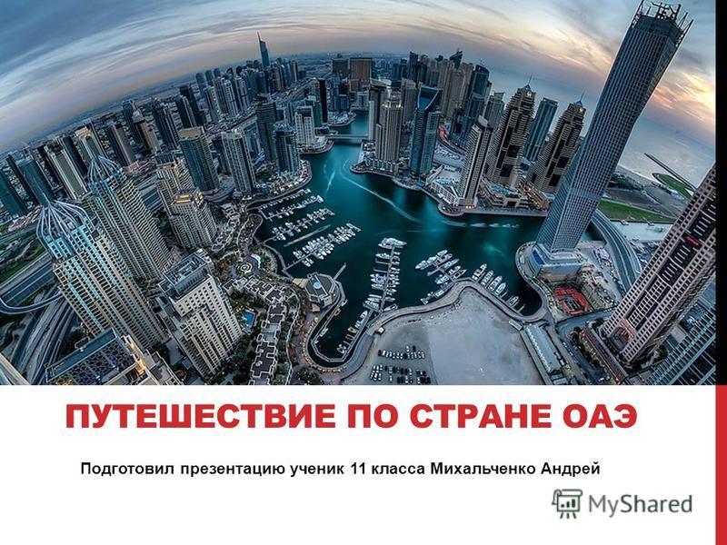 Подготовил презентацию ученик 11 класса Михальченко Андрей ПУТЕШЕСТВИЕ ПО СТРАНЕ ОАЭ