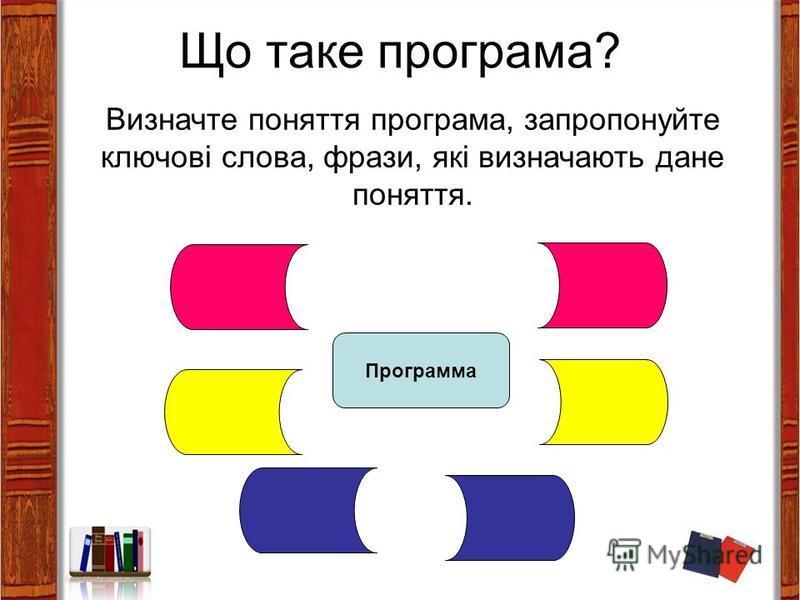 Що таке програма? Визначте поняття програма, запропонуйте ключові слова, фрази, які визначають дане поняття. Программа