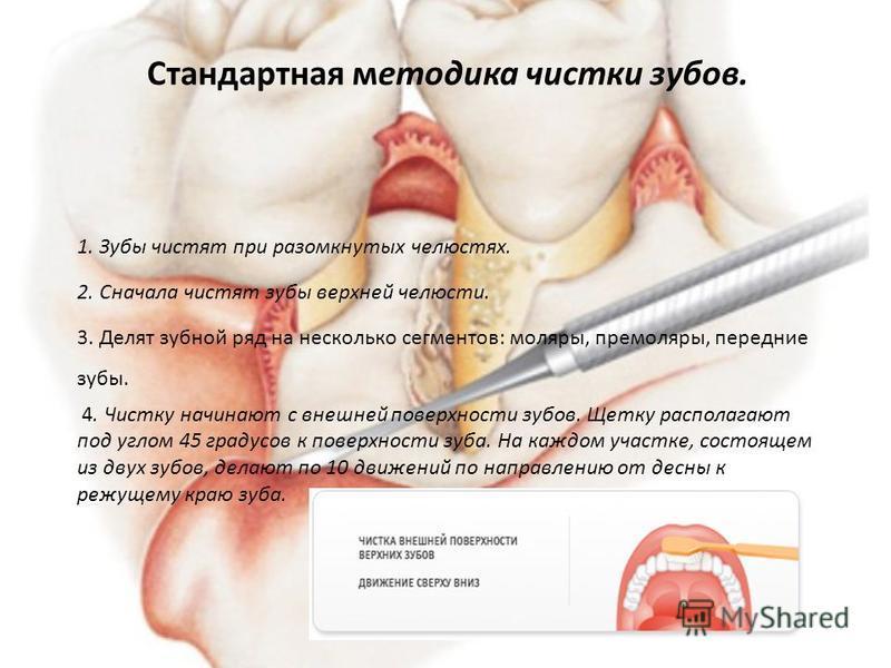 1. Зубы чистят при разомкнутых челюстях. 2. Сначала чистят зубы верхней челюсти. 3. Делят зубной ряд на несколько сегментов: моляры, премоляры, передние зубы. 4. Чистку начинают с внешней поверхности зубов. Щетку располагают под углом 45 градусов к п