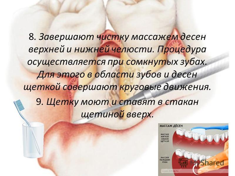 8. Завершают чистку массажем десен верхней и нижней челюсти. Процедура осуществляется при сомкнутых зубах. Для этого в области зубов и десен щеткой совершают круговые движения. 9. Щетку моют и ставят в стакан щетиной вверх.