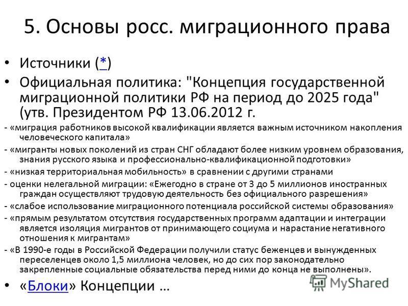 5. Основы росс. миграционного права Источники (*)* Официальная политика: