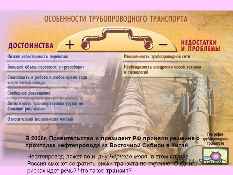В 2006 г. Правительство и президент РФ приняли решение о прокладке нефтепровода из Восточной Сибири в Китай. Нефтепровод ляжет по и дну Черного моря- в этом случае Россия сможет сократить риски транзита по Украине. О каких рисках идет речь? Что такое