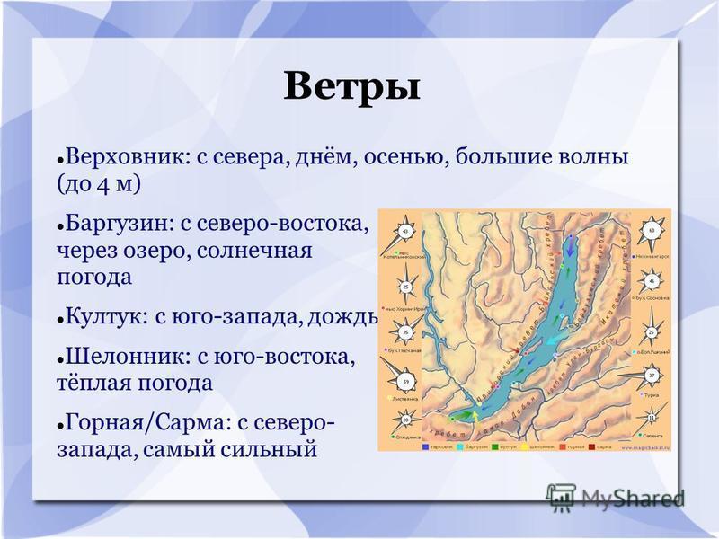 Ветры Верховник: с севера, днём, осенью, большие волны (до 4 м) Баргузин: с северо-востока, через озеро, солнечная погода Култук: с юго-запада, дождь Шелонник: с юго-востока, тёплая погода Горная/Сарма: с северо- запада, самый сильный