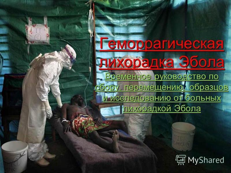 Геморрагическая лихорадка Эбола Временное руководство по сбору, перемещению, образцов и исследованию от больных лихорадкой Эбола