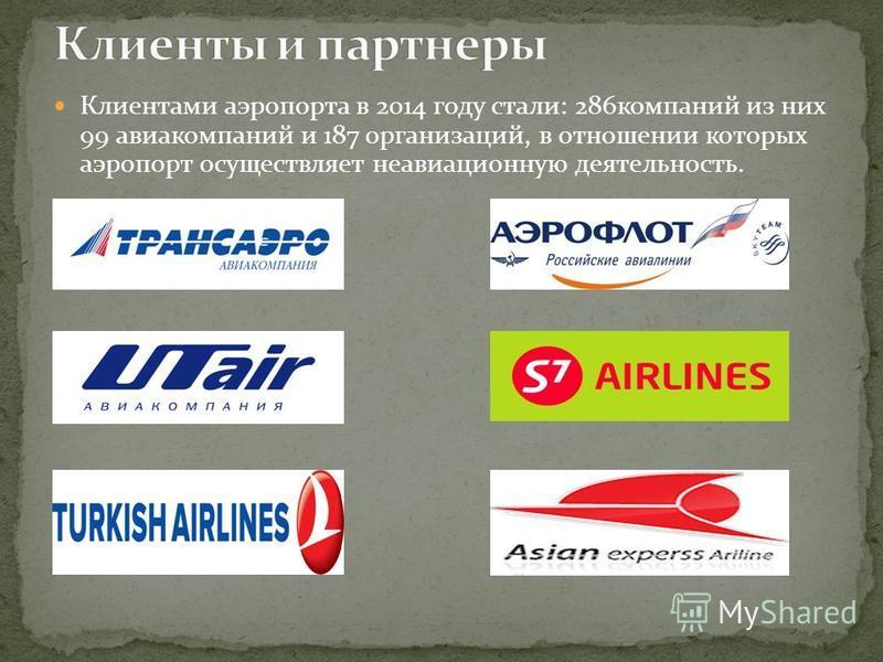 Клиентами аэропорта в 2014 году стали: 286 компаний из них 99 авиакомпаний и 187 организаций, в отношении которых аэропорт осуществляет неавиационную деятельность.
