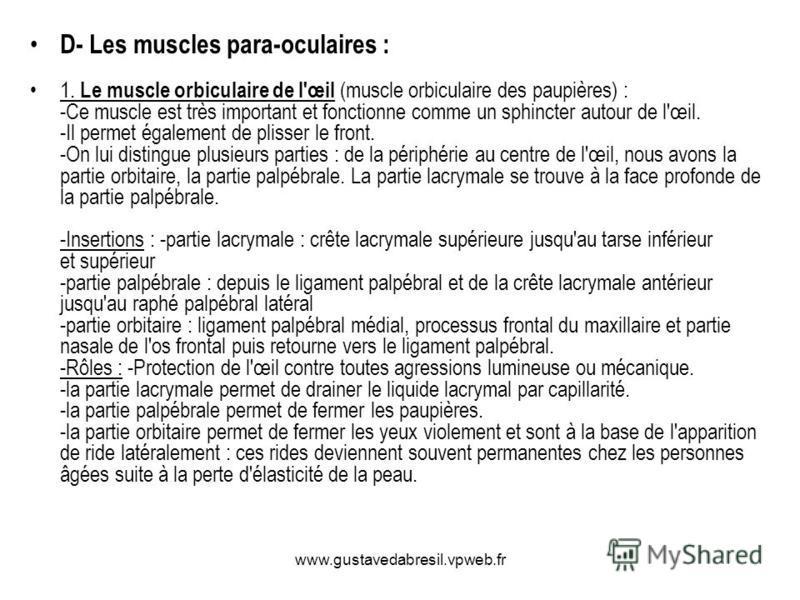 www.gustavedabresil.vpweb.fr D- Les muscles para-oculaires : 1. Le muscle orbiculaire de l'œil (muscle orbiculaire des paupières) : -Ce muscle est très important et fonctionne comme un sphincter autour de l'œil. -Il permet également de plisser le fro