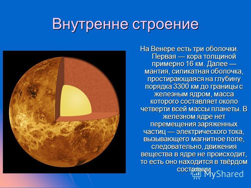 Внутренне строение На Венере есть три оболочки. Первая кора толщиной примерно 16 км. Далее мантия, силикатная оболочка, простирающаяся на глубину порядка 3300 км до границы с железным ядром, масса которого составляет около четверти всей массы планеты