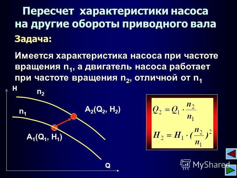 Задача: Имеется характеристика насоса при частоте вращения n 1, а двигатель насоса работает при частоте вращения n 2, отличной от n 1 Пересчет характеристики насоса на другие обороты приводного вала n2n2 A 1 (Q 1, H 1 ) A 2 (Q 2, H 2 ) n1n1 Q H