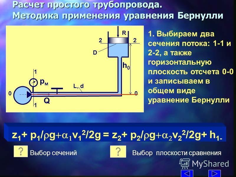 L, d D R Q рмрм h0h0 Расчет простого трубопровода. Методика применения уравнения Бернулли 1. Выбираем два сечениия потока: 1-1 и 2-2, а также горизонтальную плоскость отсчета 0-0 и записываем в общем виде уравнение Бернулли 1 1 2 z 1 + p 1 / g v 1 2