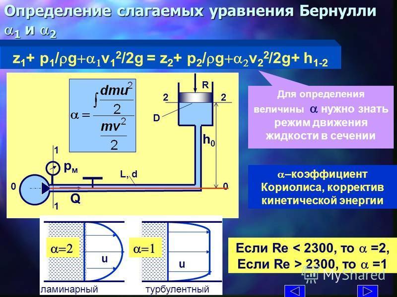 Определение слагаемых уравнения Бернулли 1 и a 2 z 1 + p 1 / g v 1 2 /2g = z 2 + p 2 / g v 2 2 /2g+ h 1-2 L, d D R Q рмрм h0h0 1 1 2 0 a–коэфффффициент Кориолиса, корректив кинетической энергии Если Re 2300, то a =1 Для определения величины a нужно з