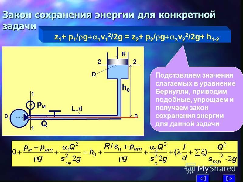 Закон сохранения энергии для конкретной задачи z 1 + p 1 / g v 1 2 /2g = z 2 + p 2 / g v 2 2 /2g+ h 1-2 L, d D R Q рмрм h0h0 1 1 2 0 Подставляем значения слагаемых в уравнение Бернулли, приводим подобные, упрощаем и получаем закон сохранения энергии