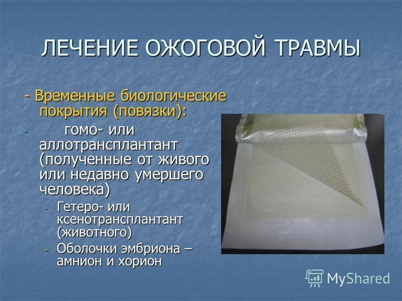ЛЕЧЕНИЕ ОЖОГОВОЙ ТРАВМЫ - Временные биологические покрытия (повязки): - гомо- или аллотрансплантант (полученные от живого или недавно умершего человека) - Гетеро- или ксенотрансплантант (животного) - Оболочки эмбриона – амнион и хорион