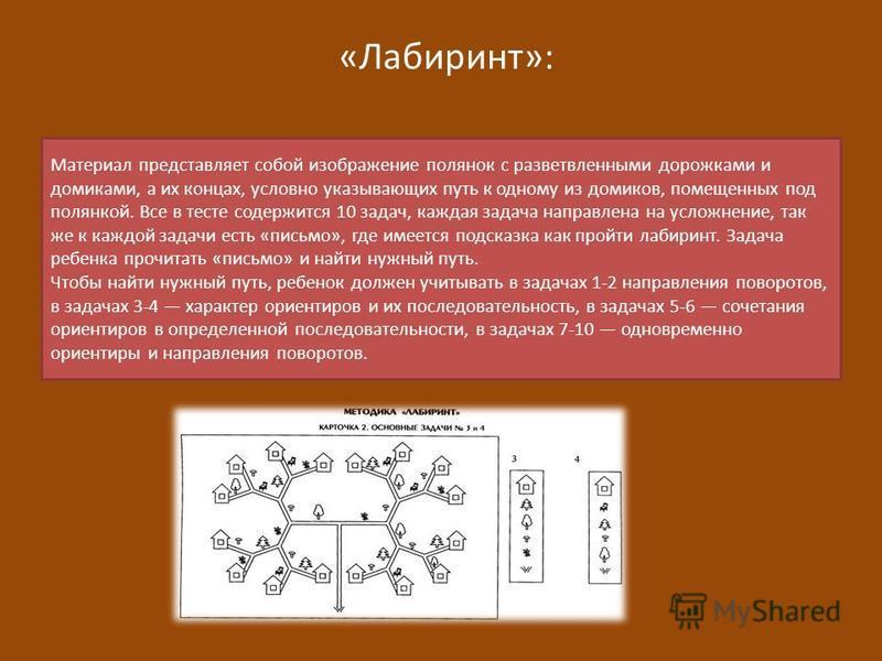 «Лабиринт»: Материал представляет собой изображение полянок с разветвленными дорожками и домиками, а их концах, условно указывающих путь к одному из домиков, помещенных под полянкой. Все в тесте содержится 10 задач, каждая задача направлена на усложн