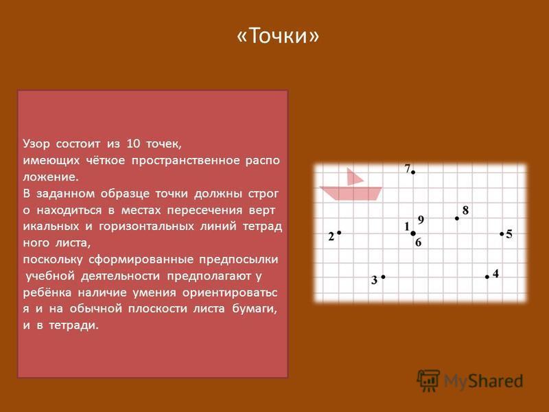 «Точки» Узор состоит из 10 точек, имеющих чёткое пространственное распо ложение. В заданном образце точки должны строг о находиться в местах пересечения вертикальных и горизонтальных линий тетрад ного листа, поскольку сформированные предпосылки учебн
