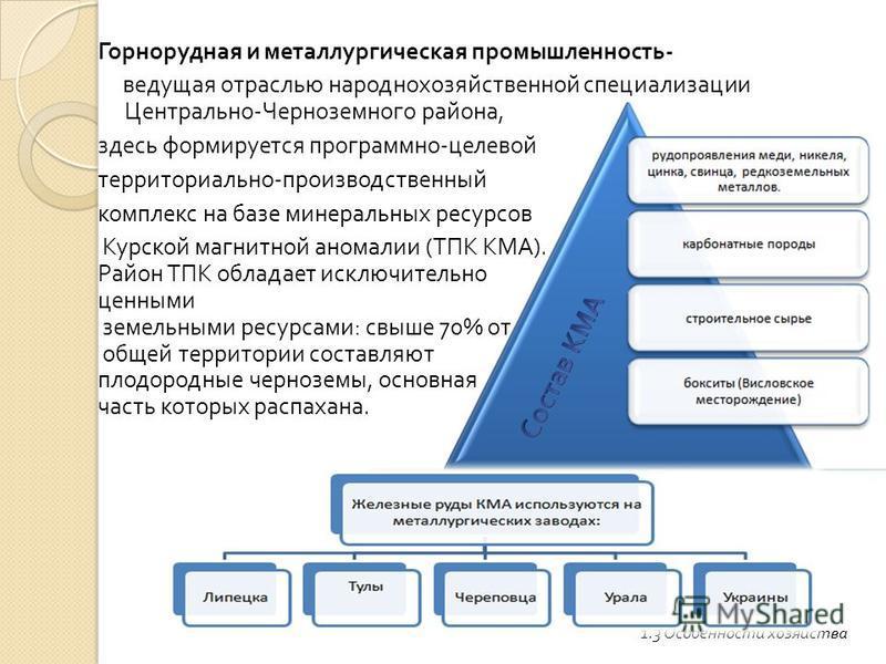 Горнорудная и металлургическая промышленность - ведущая отраслью народнохозяйственной специализации Центрально - Черноземного района, здесь формируется программно - целевой территориально - производственный комплекс на базе минеральных ресурсов Курск