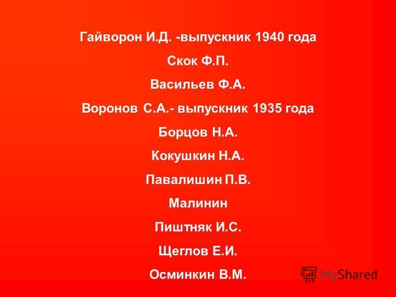 Гайворон И.Д. -выпускник 1940 года Скок Ф.П. Васильев Ф.А. Воронов С.А.- выпускник 1935 года Борцов Н.А. Кокушкин Н.А. Павалишин П.В. Малинин Пиштняк И.С. Щеглов Е.И. Осминкин В.М.