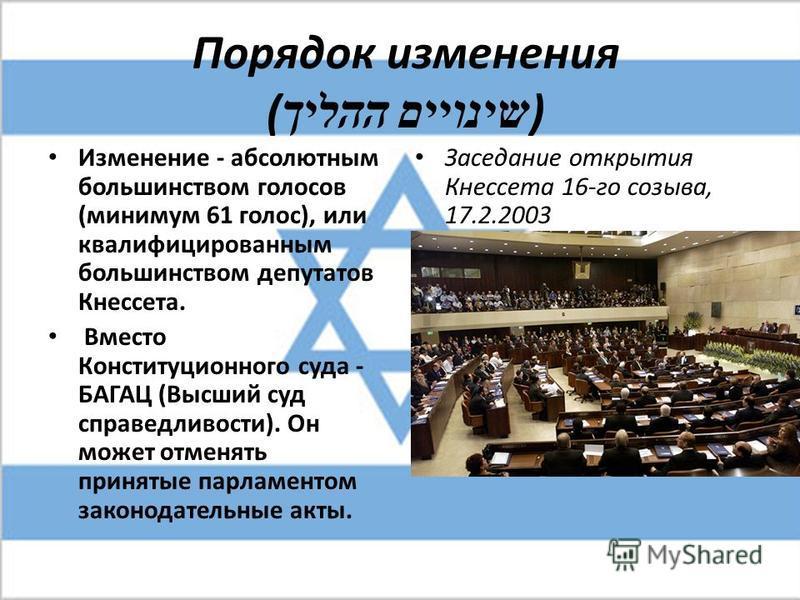 Порядок изменения ( שינויים ההליך ) Изменение - абсолютным большинством голосов (минимум 61 голос), или квалифицированным большинством депутатов Кнессета. Вместо Конституционного суда - БАГАЦ (Высший суд справедливости). Он может отменять принятые па