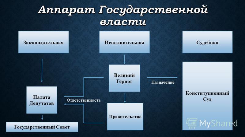 Законодательная Исполнительная Судебная Палата Депутатов Великий Герцог Правительство Ответственность Государственный Совет Конституционный Суд Назначение