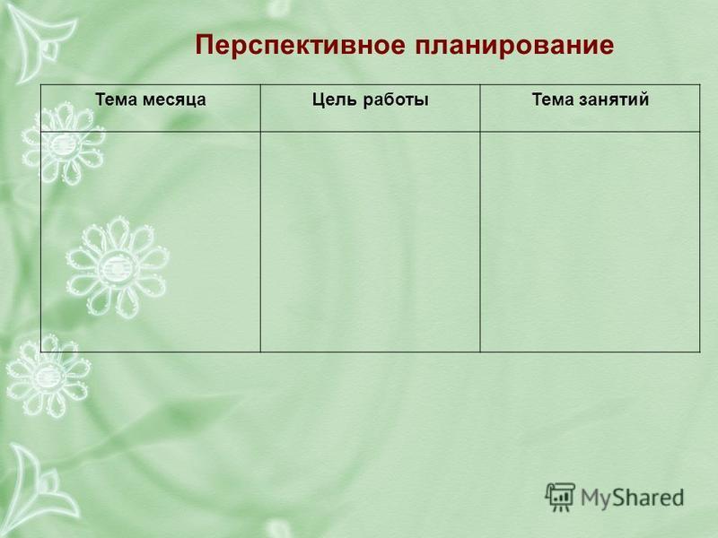 Перспективное планирование Тема месяца Цель работы Тема занятий