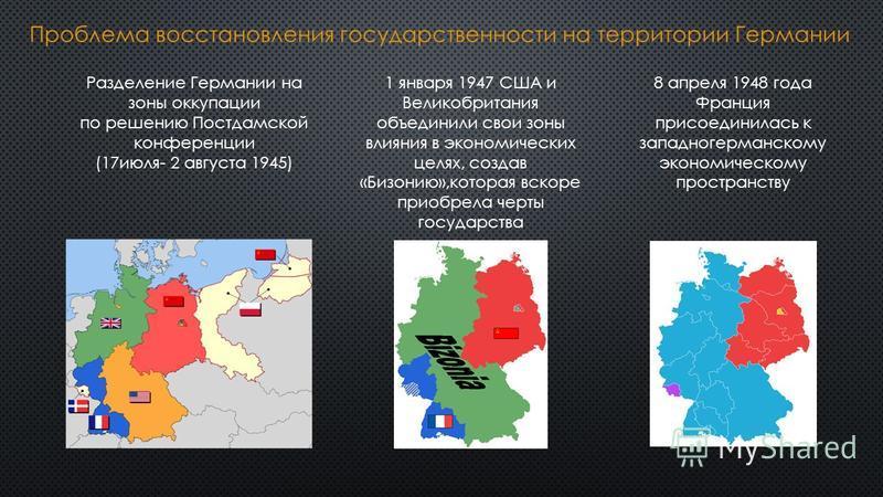 Разделение Германии на зоны оккупации по решению Постдамской конференции (17 июля- 2 августа 1945) 1 января 1947 США и Великобритания объединили свои зоны влияния в экономических целях, создав «Бизонию»,которая вскоре приобрела черты государства 8 ап