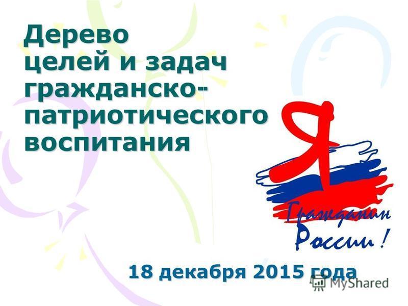 Дерево целей и задач гражданско- патриотического воспитания 18 декабря 2015 года