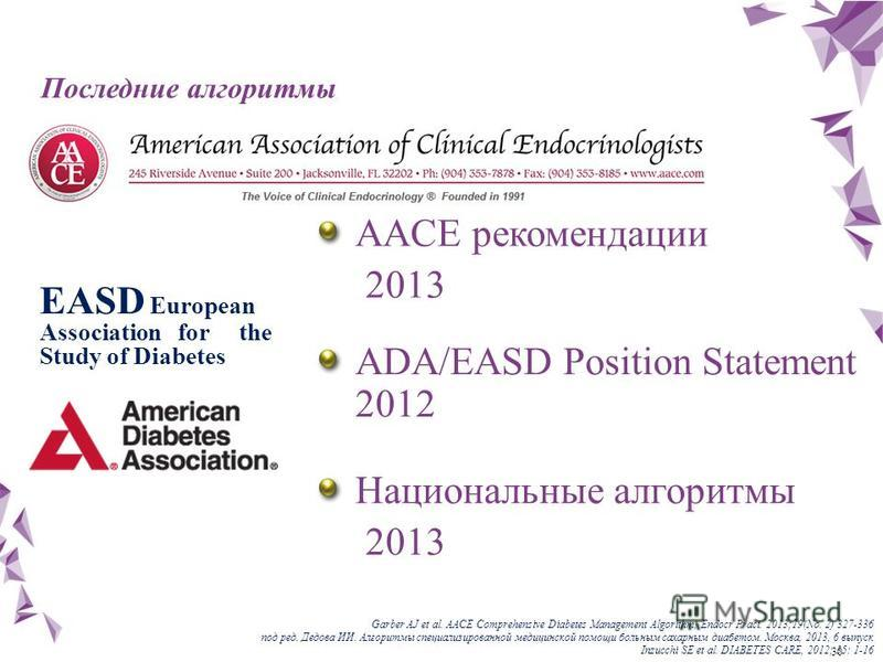 30 Последние алгоритмы EASD European Association for the Study of Diabetes AACE рекомендации 2013 Национальные алгоритмы 2013 Garber AJ et al. AACE Comprehensive Diabetes Management Algorithm, Endocr Pract. 2013;19(No. 2) 327-336 под ред. Дедова ИИ.