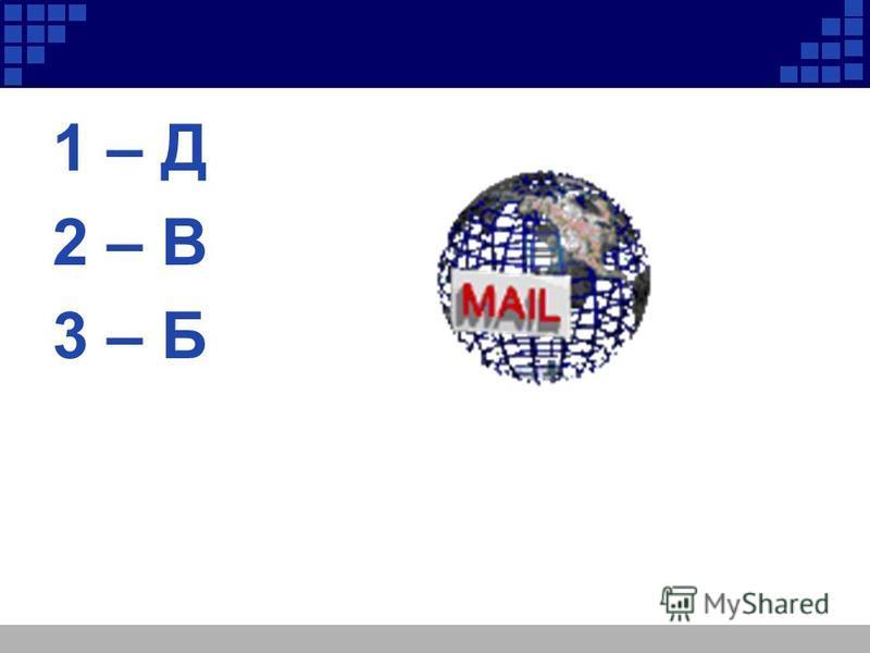 1 – Д 2 – В 3 – Б