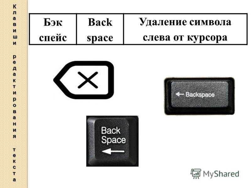 Бэк спейс Back space Удаление символа слева от курсора