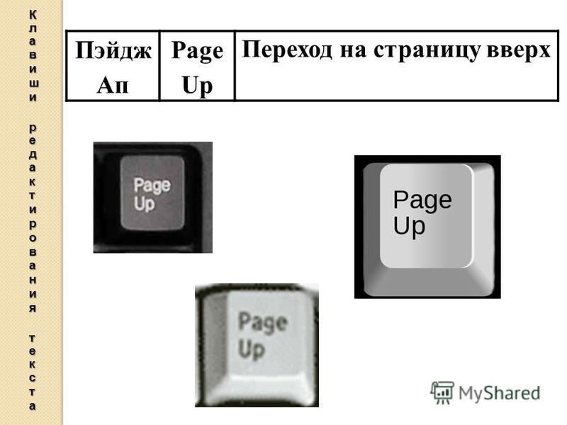Пэйдж Ап Page Up Переход на страницу вверх