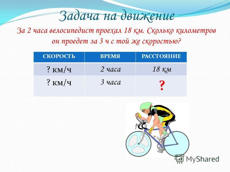 Задача на движение За 2 часа велосипедист проехал 18 км. Сколько километров он проедет за 3 ч с той же скоростью? СКОРОСТЬВРЕМЯРАССТОЯНИЕ ? км/ч 2 часа 18 км ? км/ч 3 часа ?