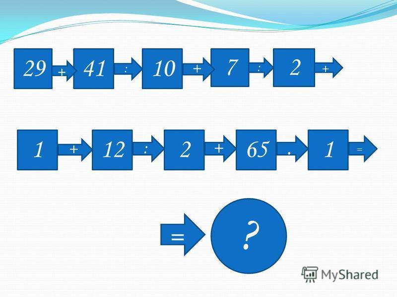 2941 + : 10 7 + : 2 + 1 + 12 : 2 + 65. 1 = = ?