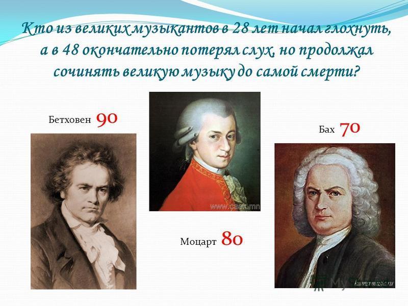 Кто из великих музыкантов в 28 лет начал глохнуть, а в 48 окончательно потерял слух, но продолжал сочинять великую музыку до самой смерти? Бетховен 90 Моцарт 80 Бах 70