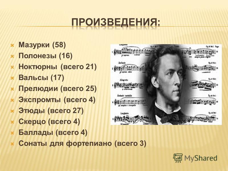 Мазурки (58) Полонезы (16) Ноктюрны (всего 21) Вальсы (17) Прелюдии (всего 25) Экспромты (всего 4) Этюды (всего 27) Скерцо (всего 4) Баллады (всего 4) Сонаты для фортепиано (всего 3)