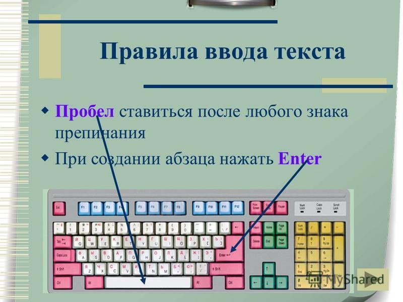 Правила ввода текста Пробел ставиться после любого знака препинания При создании абзаца нажать Enter