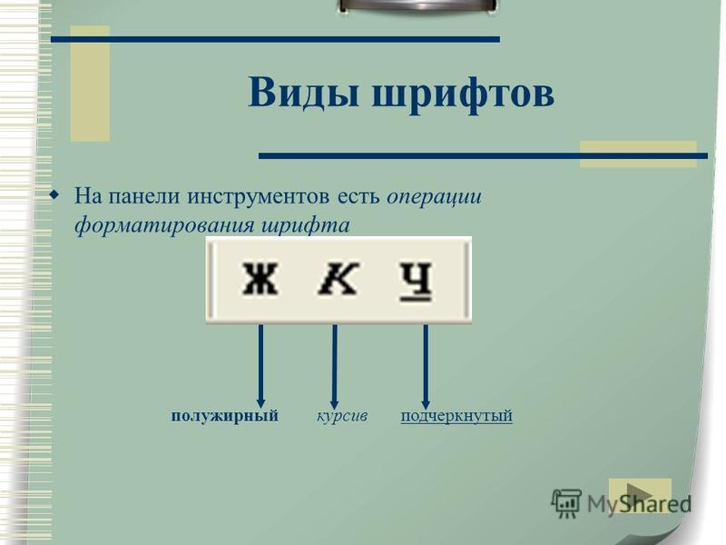 Виды шрифтов На панели инструментов есть операции форматирования шрифта полужирный курсив подчеркнутый