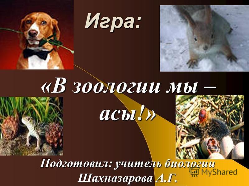 Игра: «В зоологии мы – асы!» Подготовил: учитель биологии Шахназарова А.Г.