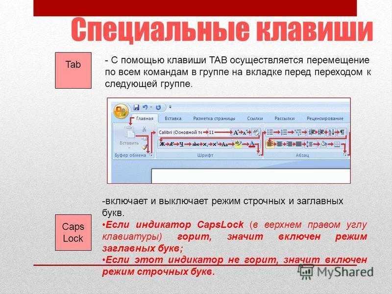 Специальные клавиши Tab - С помощью клавиши TAB осуществляется перемещение по всем командам в группе на вкладке перед переходом к следующей группе. Caps Lock -включает и выключает режим строчных и заглавных букв. Если индикатор CapsLock (в верхнем пр