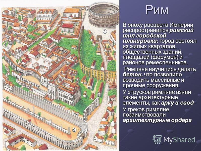 Рим В эпоху расцвета Империи распространился римский тип городской планировки: город состоял из жилых кварталов, общественных зданий, площадей (форумов) и районов ремесленников. Римляне научились делать бетон, что позволило возводить массивные и проч