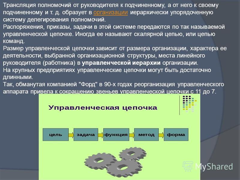 Трансляция полномочий от руководителя к подчиненному, а от него к своему подчиненному и т. д. образует в организации иерархически упорядоченную систему делегирования полномочий. Распоряжения, приказы, задачи в этой системе передаются по так называемо
