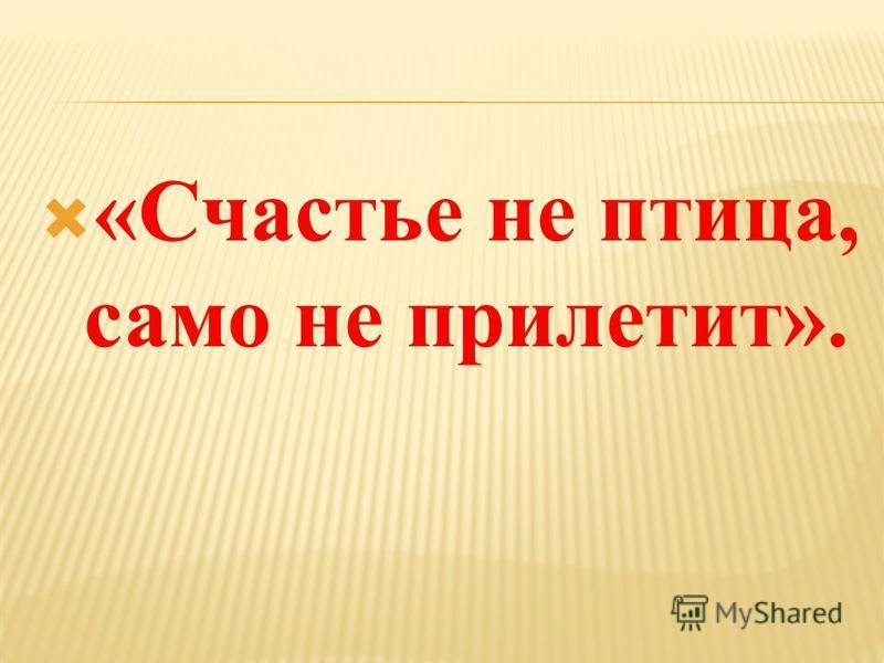 «Счастье не птица, само не прилетит».